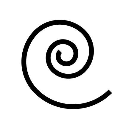 Simple black spiral logo, isolated on white background