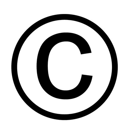 Copyright intellectual rights label, isolated on white background Illustration