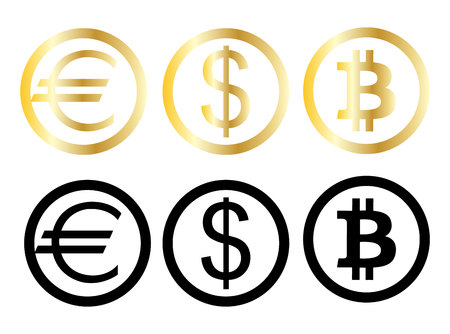 Three money and paying currency symbols in circles, isolated on white background Ilustração