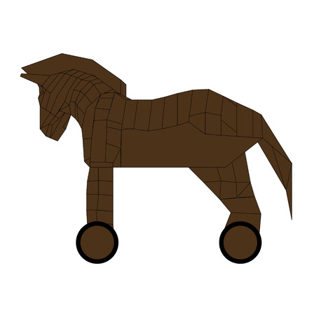 Wooden trojan horse replica, isolated on white background Illustration