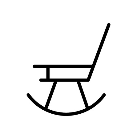 Rocking chair line art icon, isolated on white background Illustration