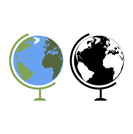 Two globus planet Earth illustrations icons, isolated on white background