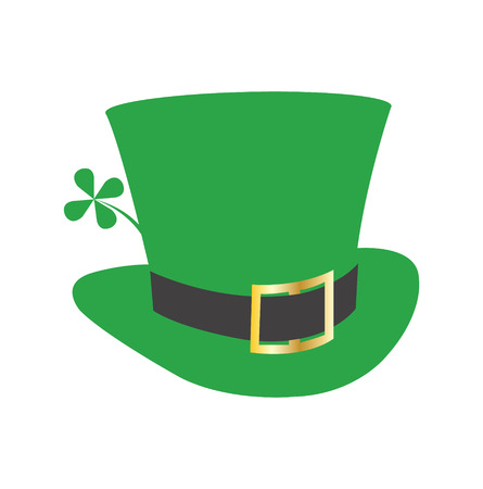 Green leprechaun Irish hat with four leaf clover, isolated on white background