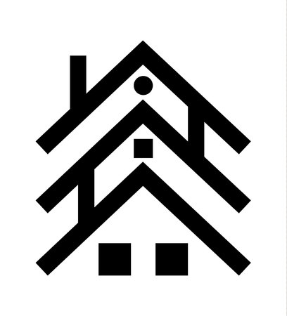 Three houses and roofs graphic logo, isolated on white background