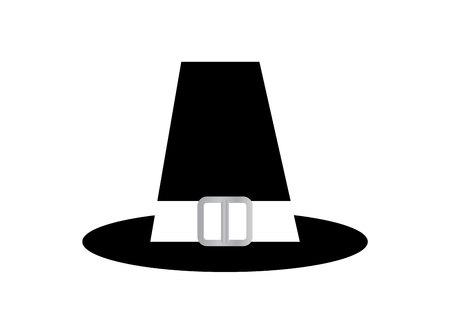 Pilgrim top hat cartoon illustration, isolated on white background