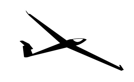 Black silhouette of a small light air glider aircraft, isolated on white background