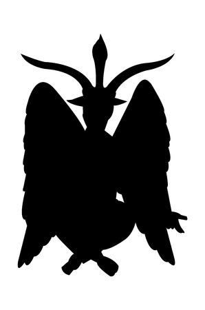 Black silhouette of the Satan demon Baphomet, isolated on white background Illustration