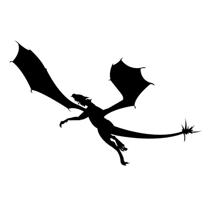 Black silhouette of a dragon flying, isolated on white background