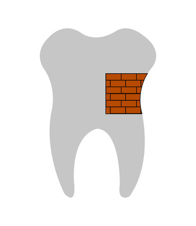 Tooth that is patched up with a brick wall concept, isolated on white background