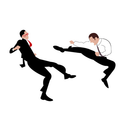 Business man in a suit kick another business man, isolated on white background Illustration