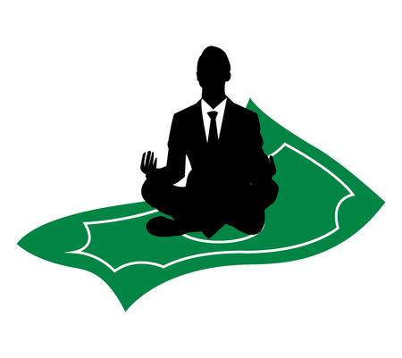 Business man sitting and meditating on a magic, flying, green banknote, isolated on white background  イラスト・ベクター素材