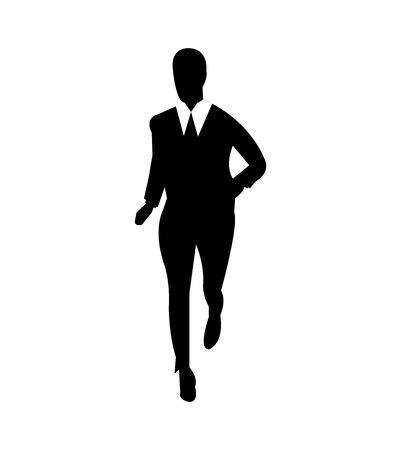 Geschäftsmann, der ein Marathonrennenkonzept joggt oder läuft, lokalisiert auf weißem Hintergrund