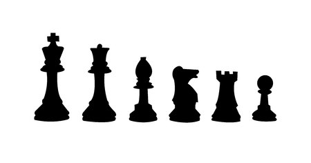 Black silhouettes of chess figures, isolated on white background