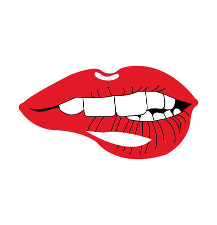 Woman lips biting on white background
