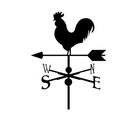 Veleta de gallo sobre fondo blanco.