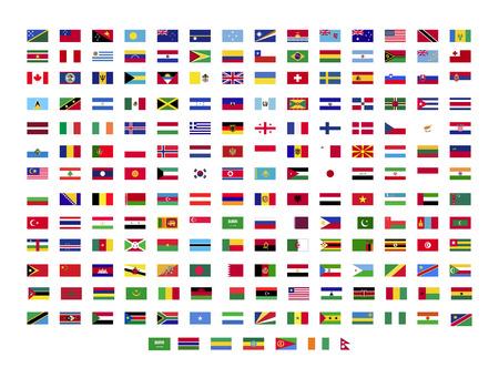 Alle Weltflaggen auf weißem Hintergrund