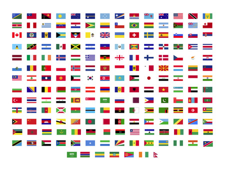 Todas las banderas del mundo sobre fondo blanco.