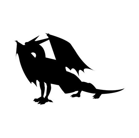 Black dragon silhouette on white background Banco de Imagens