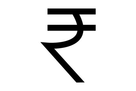Indian rupee symbol isolated on white background 版權商用圖片