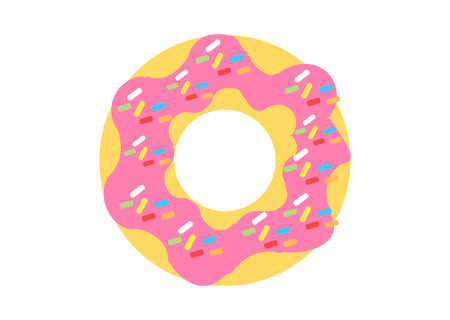 Donut with cream and sprinkles on white background 写真素材