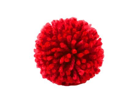 Red pom pom on white background 版權商用圖片 - 120114556