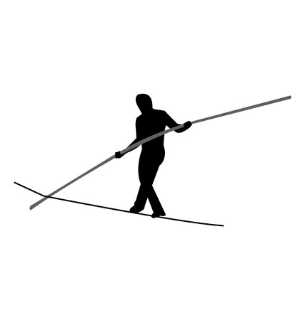 Person balancing with a pole on a tightrope silhouette