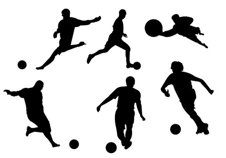 Silhouette de football football sur fond blanc