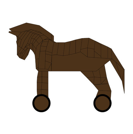 Wooden trojan horse on wheels on white background