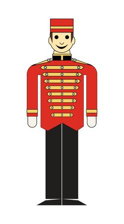 Liftboy in uniform on white background