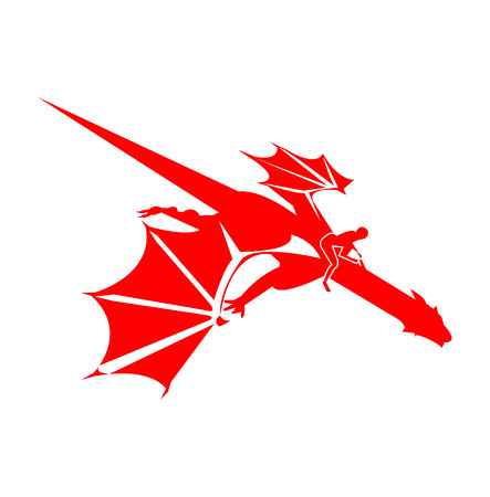 Red dragon rider silhouette on white background