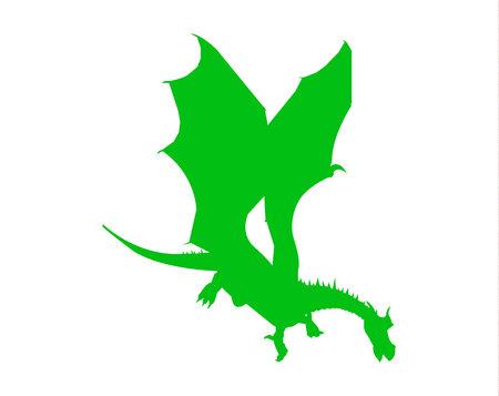 Green dragon silhouette on white background