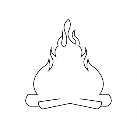 Bonfire line art icon on white background