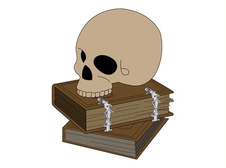 Skull on black magic books on white background