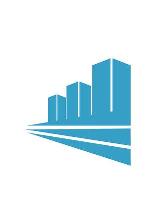Three blue buildings logo design isolated on white background Stock Photo
