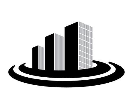 Design del logo di edifici aziendali isolato su sfondo bianco