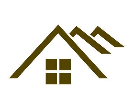 Three roofs black logo design isolated on white background