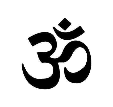 Black om symbol isolated on white background Stock Photo