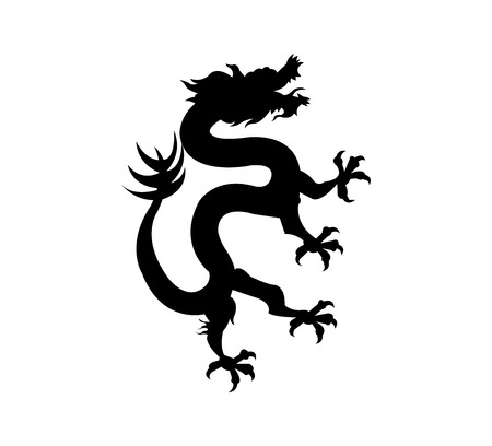Chinese dragon black silhouette isolated on white background