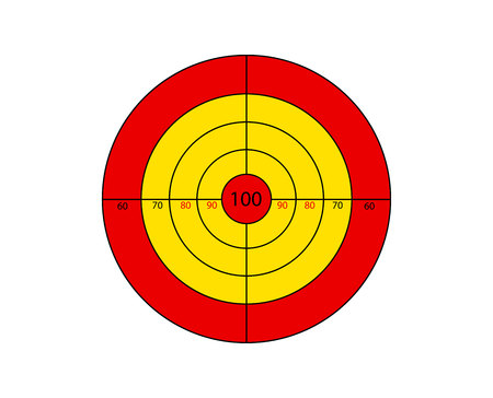 Red and yellow shooting target isolated on white background Stock Photo