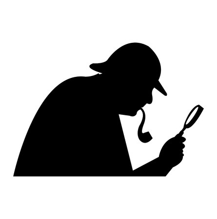 man holding a magnifying glass black silhouette isolated on white background