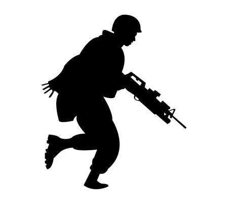 Army marine soldier black silhouette isolated on white background