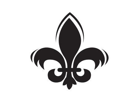 Black fleur de lis sign isolated on white background