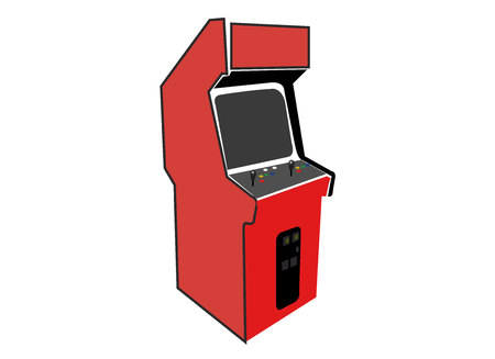Video game arcade cabinet vector illustration isolated on white background