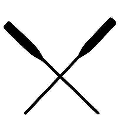Two kayak raft paddles black sign isolated on white background Reklamní fotografie