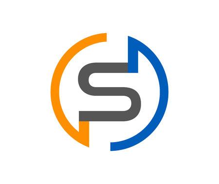 Modern oranje, blauw en grijs S-briefembleem dat op witte achtergrond wordt geïsoleerd