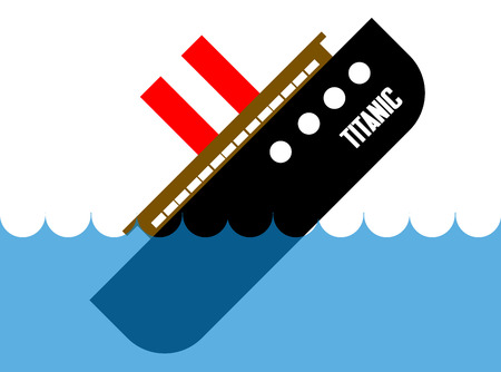 Titanic sinking vector cartoon illustration