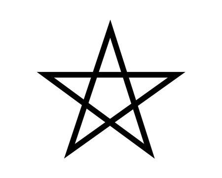 Pentagramm schwarzes Symbol isoliert auf weißem Hintergrund