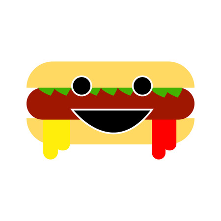 Smiling sandwich hot dog character isolated on white background