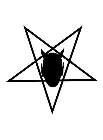 Devil head in a pentagram isolated on white background