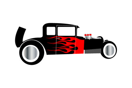 Hot rod drag racing car isolated on white background